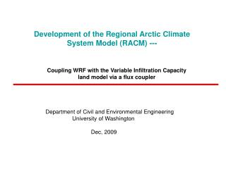 Development of the Regional Arctic Climate System Model (RACM) ---