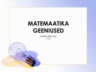 MATEMAATIKA GEENIUSED