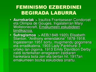 FEMINISMO EZBERDINEI BEGIRADA LABURRA