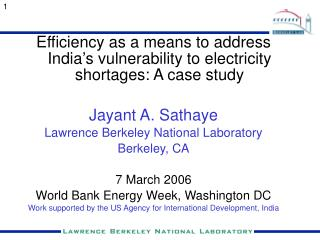 Efficiency as a means to address India's vulnerability to electricity shortages: A case study