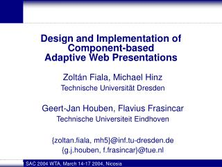 Design and Implementation of  Component-based  Adaptive Web Presentations