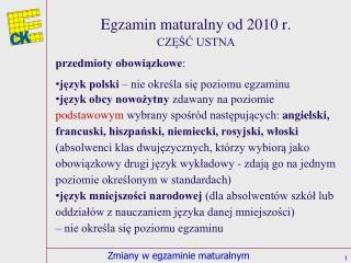 Egzamin maturalny od 2010 r.