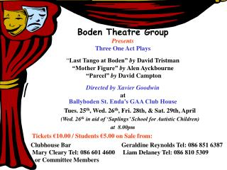 Boden Theatre Group Presents Three One Act Plays