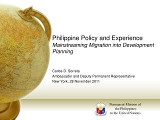 Philippine Policy and Experience Mainstreaming Migration into Development Planning