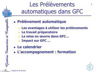 Les Pr l vements automatiques dans GFC