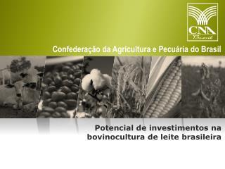 Potencial de investimentos na bovinocultura  de  leite  brasileira