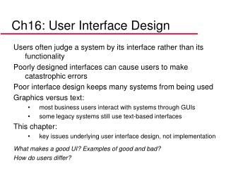 Ch16: User Interface Design
