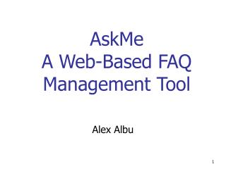 AskMe A Web-Based FAQ Management Tool