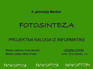 II. gimnazija Maribor FOTOSINTEZA