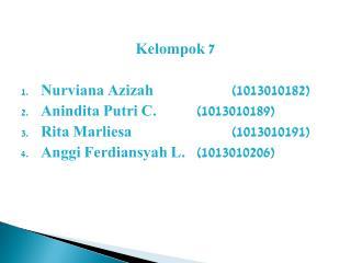 Kelompok 7 Nurviana Azizah (1013010 182 ) Anindita Putri C. (10130101 89 )