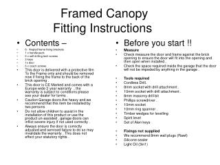 Framed Canopy Fitting Instructions
