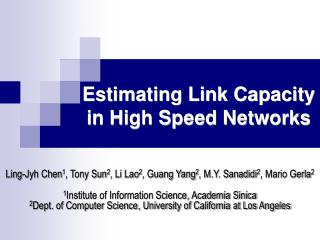 Estimating Link Capacity in High Speed Networks