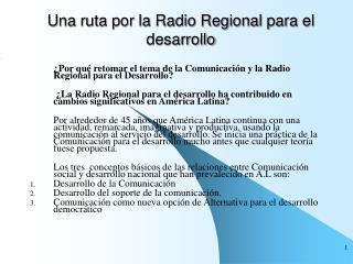 U na ruta por la Radio Regional para el desarrollo
