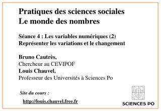 Pratiques des sciences sociales  Le monde des nombres  S ance 4 : Les variables num riques 2  Repr senter les variations