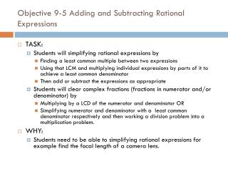 Objective 9-5 Adding and Subtracting Rational Expressions