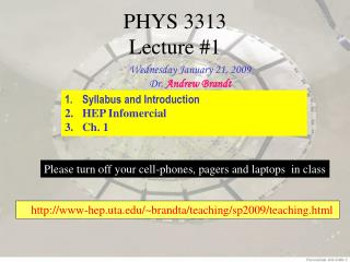PHYS 3313  Lecture #1