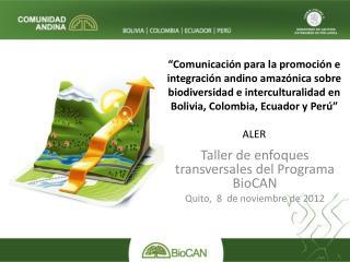 Taller de enfoques transversales del Programa BioCAN Quito,  8  de noviembre de 2012