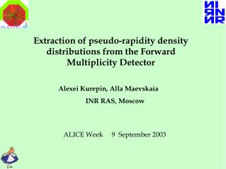 Extraction of pseudo-rapidity density distributions from the Forward Multiplicity Detector