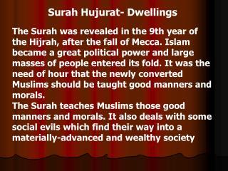 Surah Hujurat - Dwellings