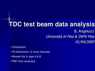TDC test beam data analysis
