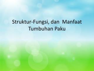 Struktur-Fungsi, dan  Manfaat  Tumbuhan Paku