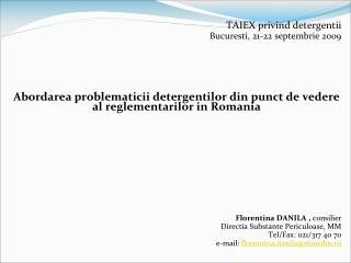 TAIEX privind detergentii Bucuresti, 21-22 septembrie 2009