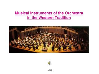Musical Instruments of the Orchestra in the Western Tradition