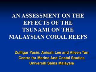 AN ASSESSMENT ON THE EFFECTS OF THE   TSUNAMI ON THE   MALAYSIAN CORAL REEFS