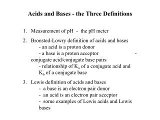 Acids and Bases - the Three Definitions