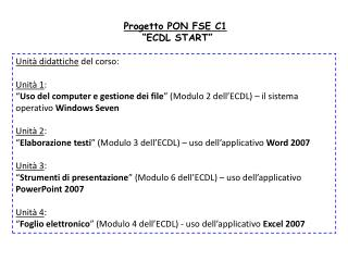 "Progetto PON FSE C1  ""ECDL START"""