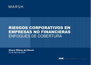RIESGOS CORPORATIVOS EN EMPRESAS NO FINANCIERAS ENFOQUES DE COBERTURA