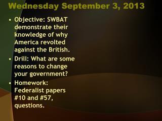 Wednesday September 3, 2013