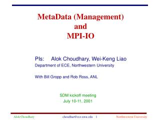MetaData (Management) and MPI-IO