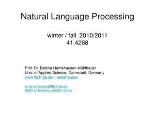 Natural Language Processing winter / fall  2010/2011 41.4268