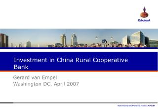 Investment in China Rural Cooperative Bank