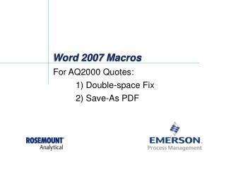 Word 2007 Macros