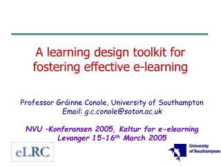A learning design toolkit for fostering effective e-learning