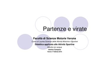 Partenze e virate