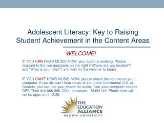 Adolescent Literacy: Key to Raising Student Achievement in the Content Areas