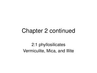 Chapter 2 continued