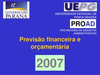 Previsão financeira e orçamentária