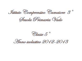 Istituto Comprensivo Camaiore  3° Scuola Primaria Vado Classe 5° Anno scolastico 2012-2013