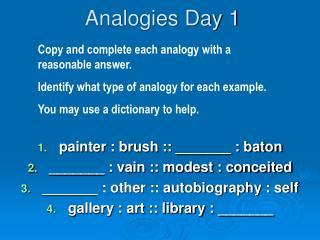 Analogies Day 1