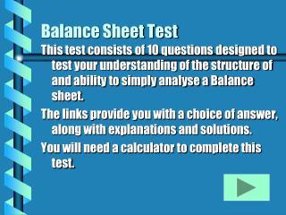 Balance Sheet Test