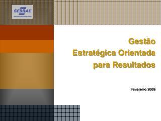 Gestão Estratégica Orientada para Resultados Fevereiro 2009