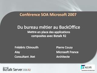 Du bureau métier au BackOffice  Mettre  en place des applications  composites avec  Biztalk  R2