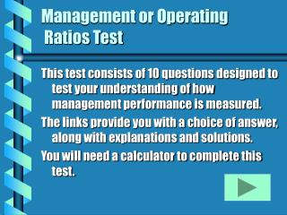 Management or Operating  Ratios Test