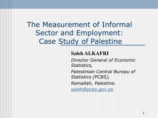 The Measurement of Informal Sector and Employment:   Case Study of Palestine
