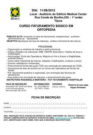 CURSO FATURAMENTO BÁSICO EM ORTOPEDIA