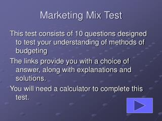 Marketing Mix Test